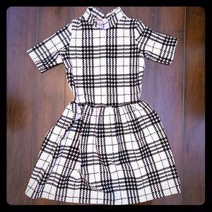 Short sleeve black/white plaid high neck minidress